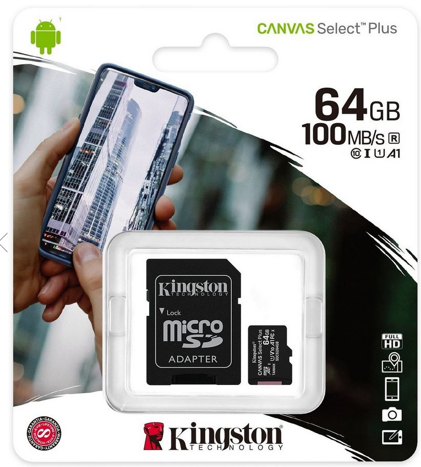 Kingston paměťová karta 64GB Canvas Select micro SDXC UHS-I U1